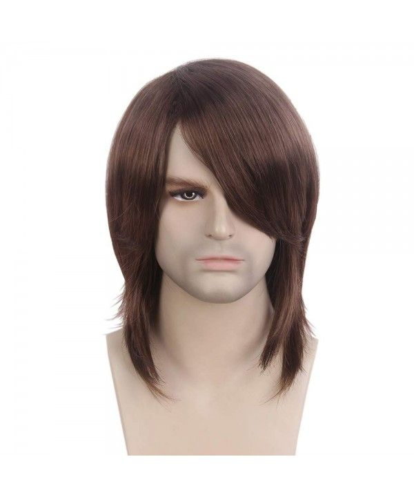 Mens Brown Wig Male Guy Mid Length Long Straight Cosplay Party Daily  Everyday Wear - Chestnut Brown - CH18KOS693Y ae68a1c8c