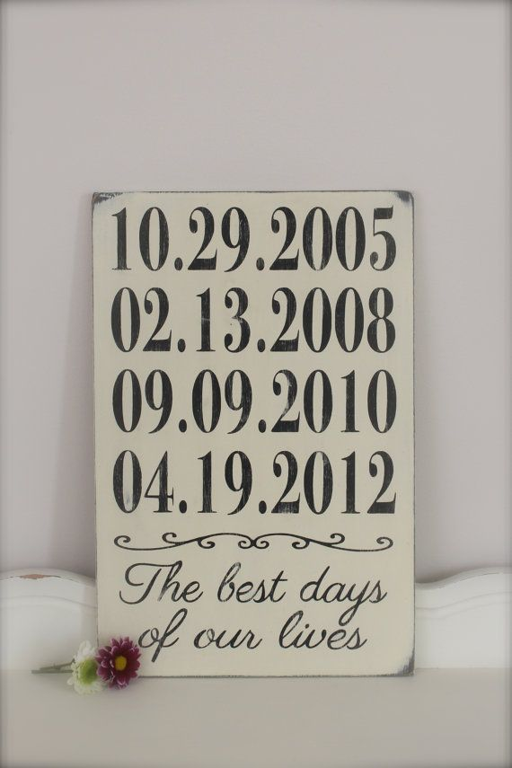 Personalized Important Dates Sign, Anniversary Date, Birth Dates, Family Sign, Wood Wall Art, Wood Sign, Vintage Sign via Etsy
