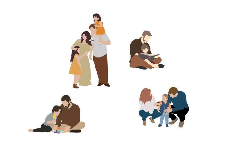 Flat Vector People Pack Family Indoor Clipart Ai Eps Png Human Person Man Woman Children Illustration Cutout For Visualization People Illustration Children Illustration Kids Clipart