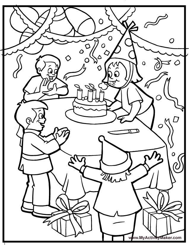 Birthday Party Coloring Pages Desenhos Para Criancas Colorir