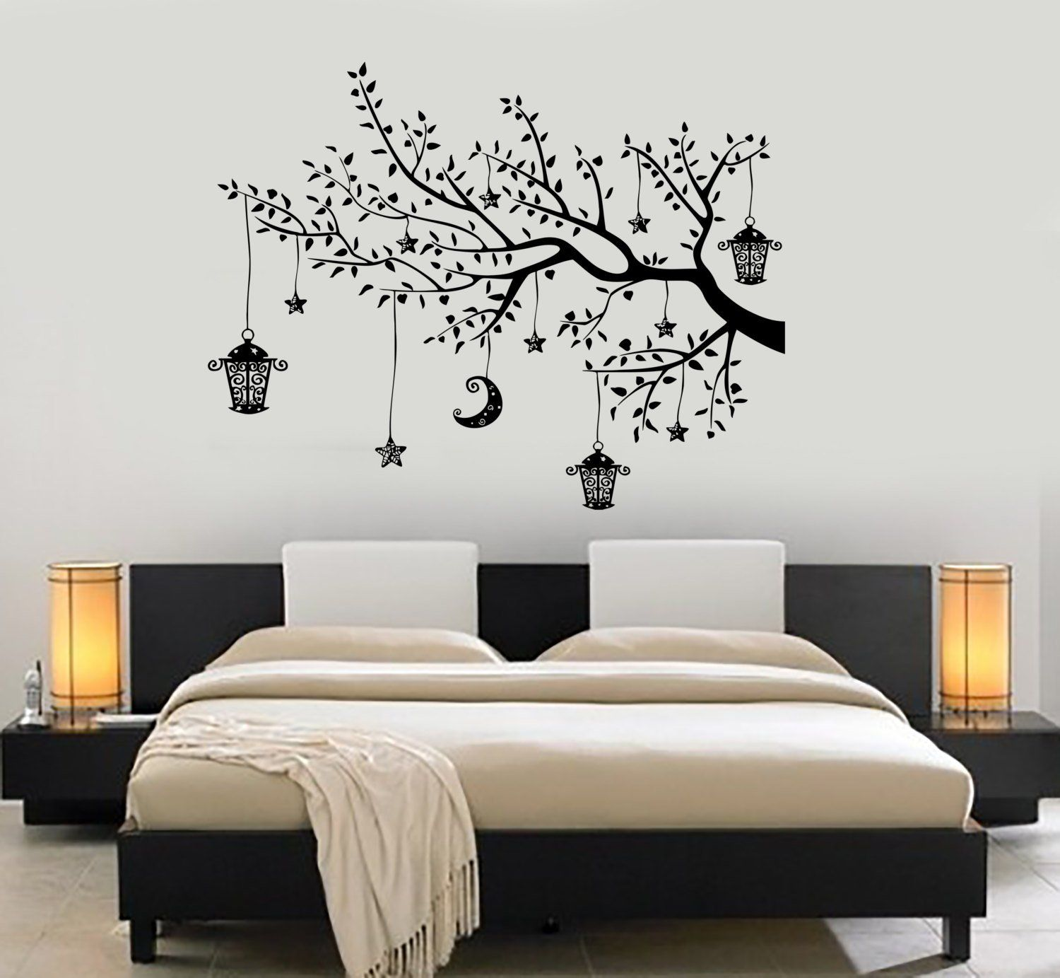 Wall Decal Branch Tree Moon Lantern For Bedroom Vinyl Sticker Etsy Bedroom Wall Designs Bedroom Wall Paint Wall Decal Branches