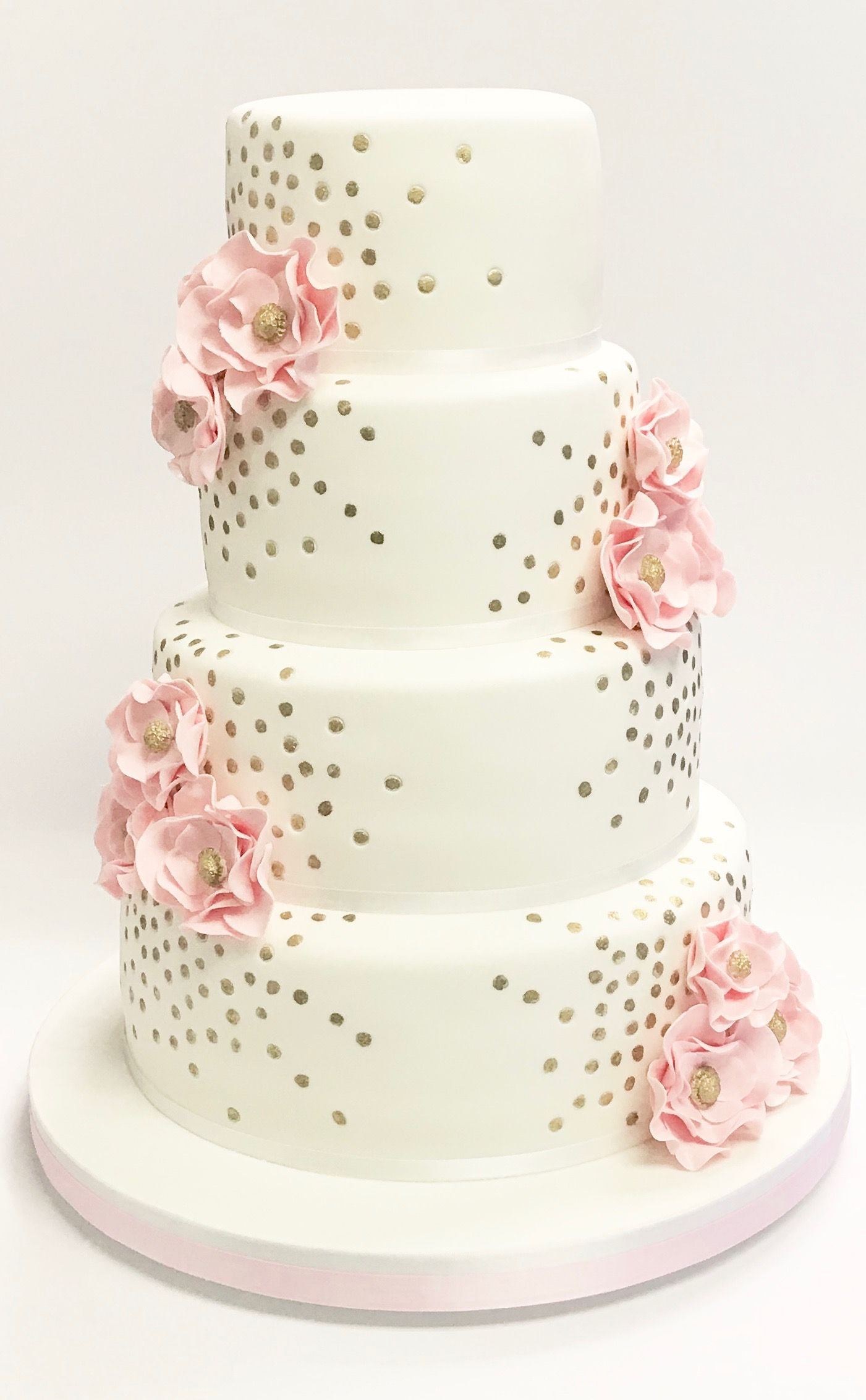 4 Tier Wedding Cake With Gold Sequins And Pink Sugar Flowers