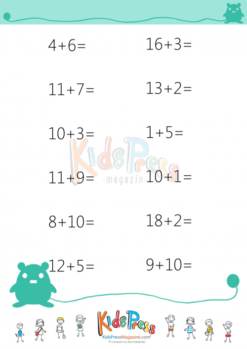Sums To 20 Worksheet 7 Simple Addition Worksheets And Math