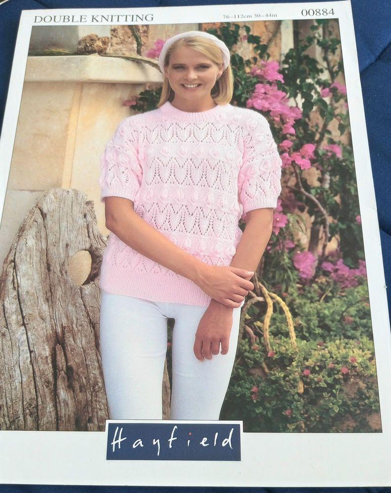 Women\'s Lace Short Sleeve Sweater knitting pattern DK yarn #Hayfield ...