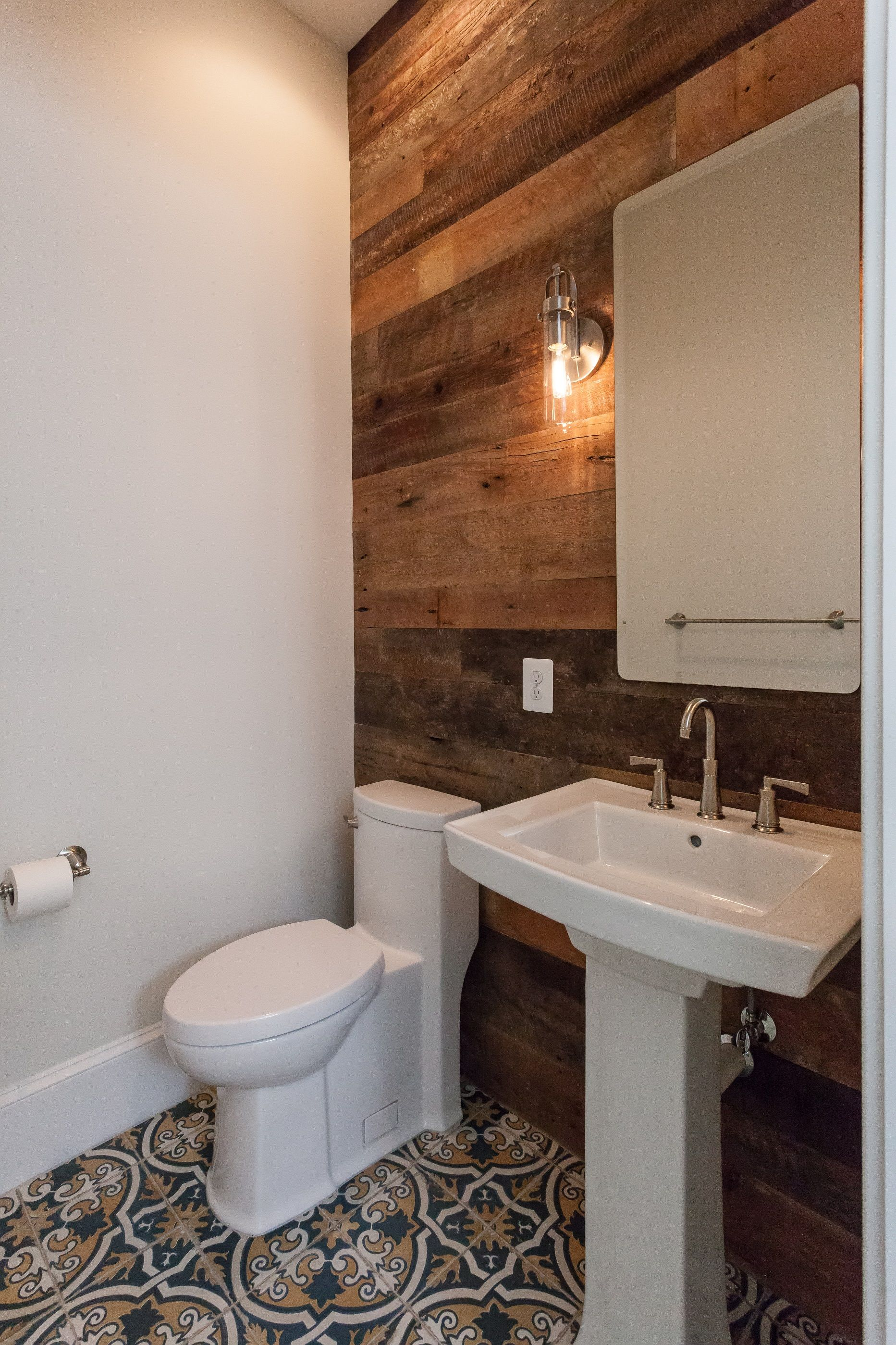 Powder Room With Reclaimed Wood Accent Wall And Blue And Yellow Mosaic Floor Tile In Custom Contemporary Home Wood Wall Tiles Wood Accent Wall Tile Accent Wall