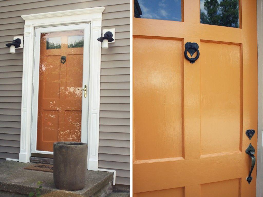 Pumpkin Orange Paint diy idea for old suitcase | colour pop, front doors and doors