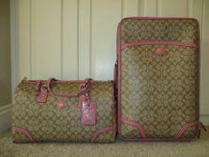 Coach Luggage Travel Set Signature Roseberry Peyton Bag Duffle Suitcase Wheelie