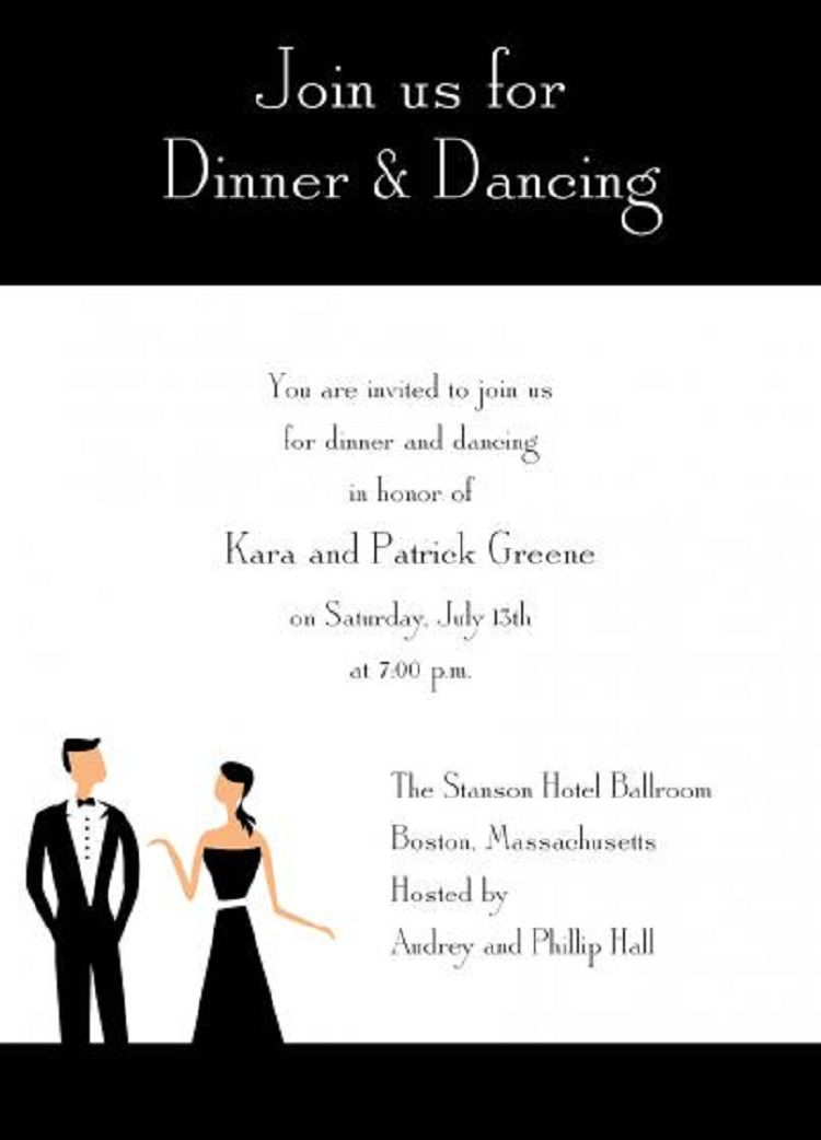 Dinner And Tail Party Invitation Wording