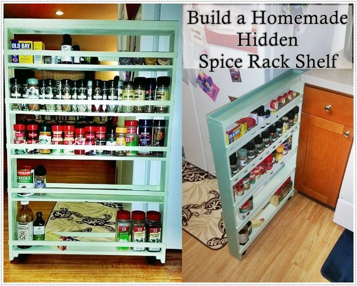 Build A Homemade Hidden Spice Rack Diy Project Diy Kitchen Cabinets Build Diy Spice Rack Spice Organization Diy