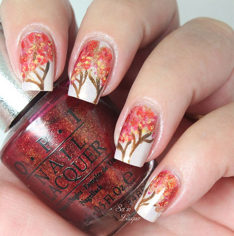 Autumn Tree Nail Art with OPI Polishes - Could do with similar fall ...