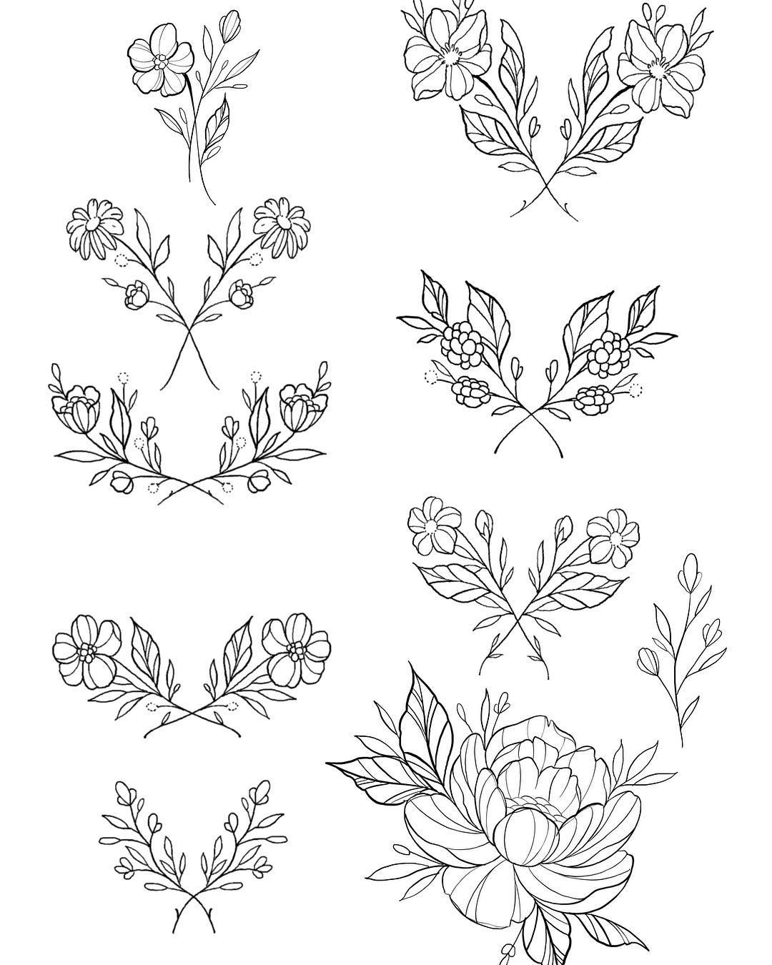 Flash Day Tomorrow Doors Open 12 Some Dainty Lil Flowers For Those Of You Wanting Something Sweet Small Tag Tattoos Body Art Tattoos Floral Tattoo Design