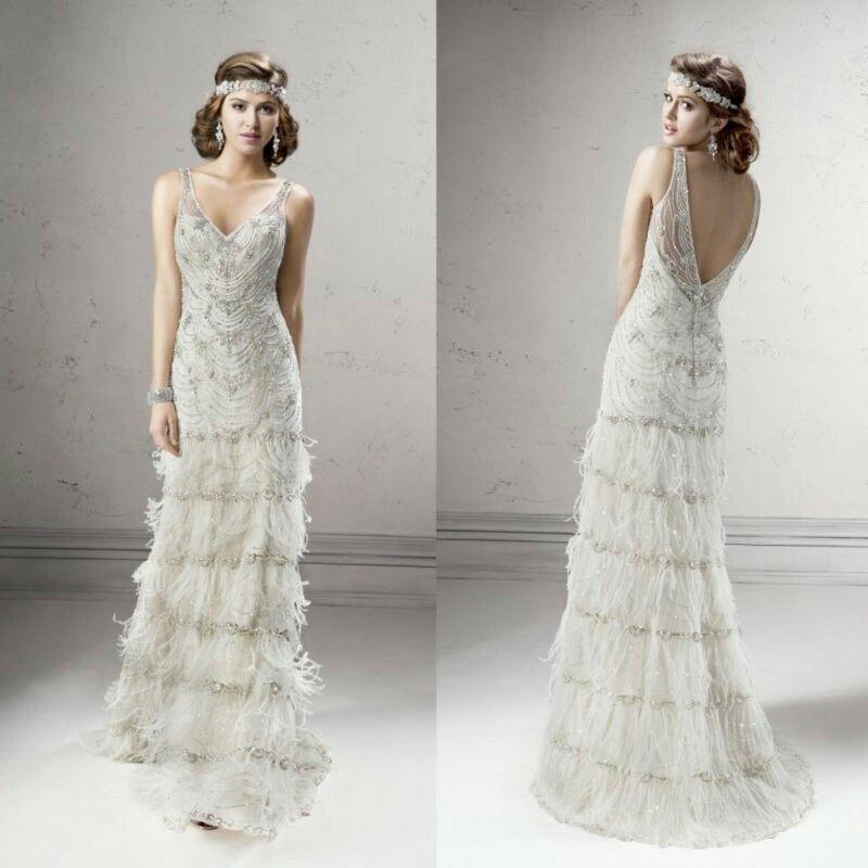 Feather Wedding Dress Flapper Wedding Dresses Gatsby Wedding Dress Wedding Dress With Feathers