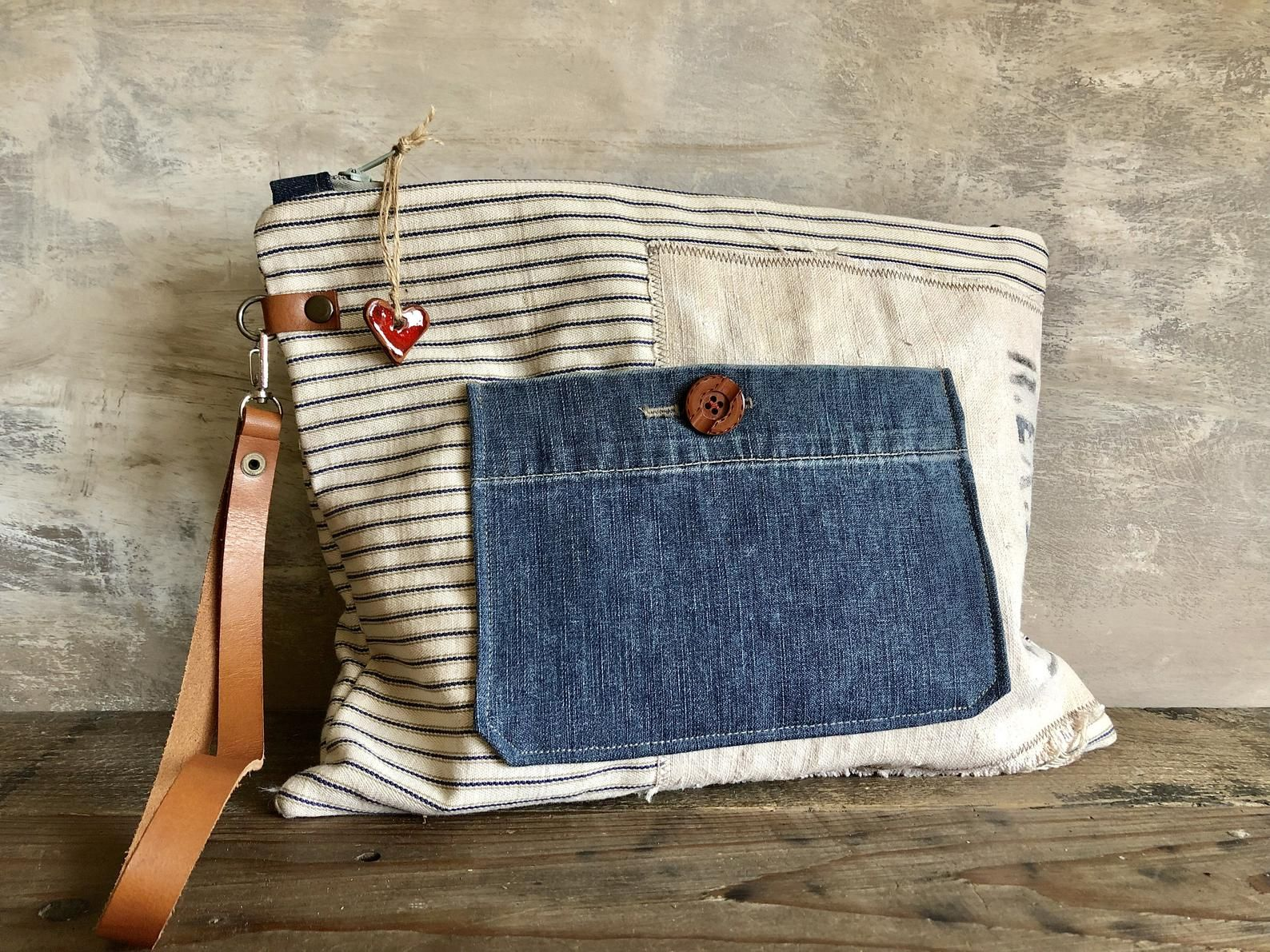 Huge Boho Clutch. Linen,leather, denim and cotton Clutch