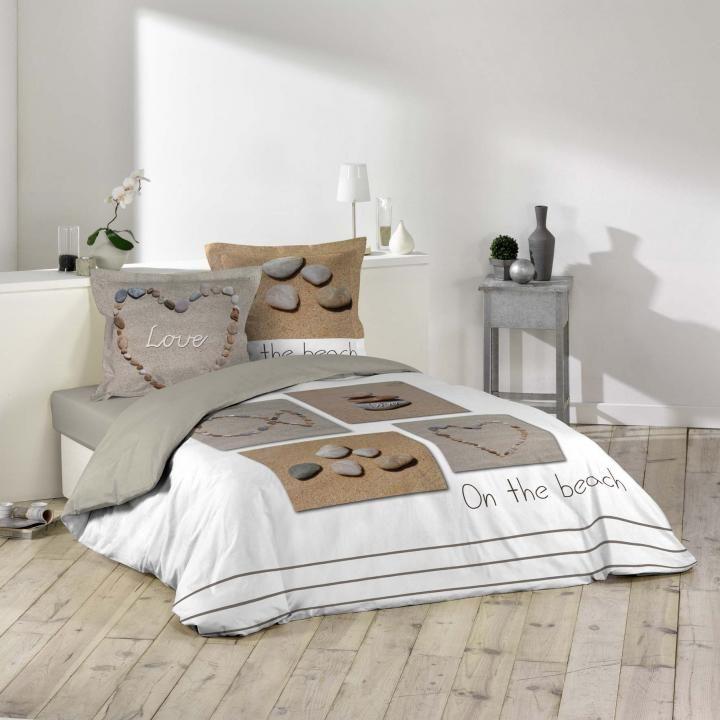Housse de couette 240 x 220 cm taies galets plage neuf par tout pour votre maison dans la - Housse de couette motif zen ...