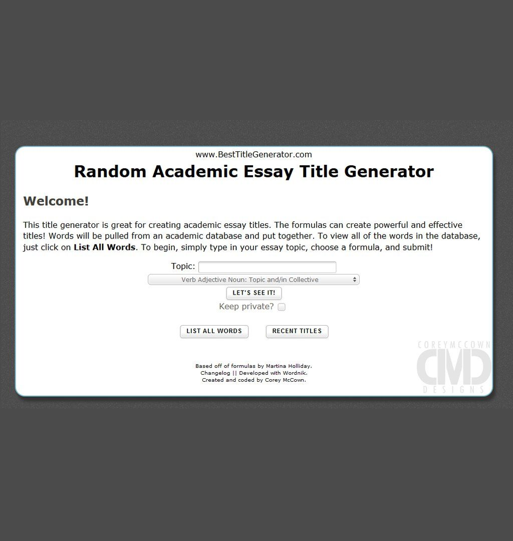 Try This Random Academic Essay Title Generator  Writing Tips