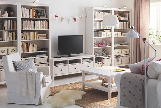 Nice These White Bookcases, TV Bench And Coffee Table Are Only A Few Pieces Of IKEA  HEMNES Series Of Living Room Storage Furniture. Made Of Genuine Solid Wood,  ...