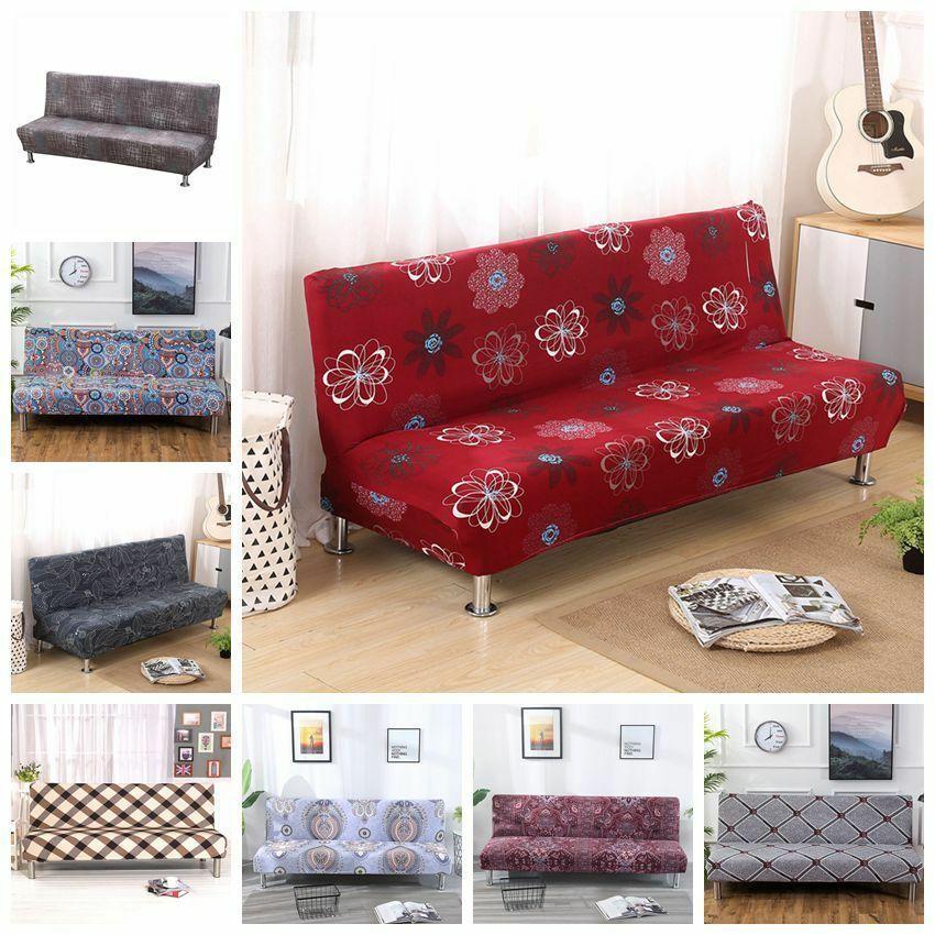 Armless Sofa Futon Cover Folding Stretch Sofa Bed