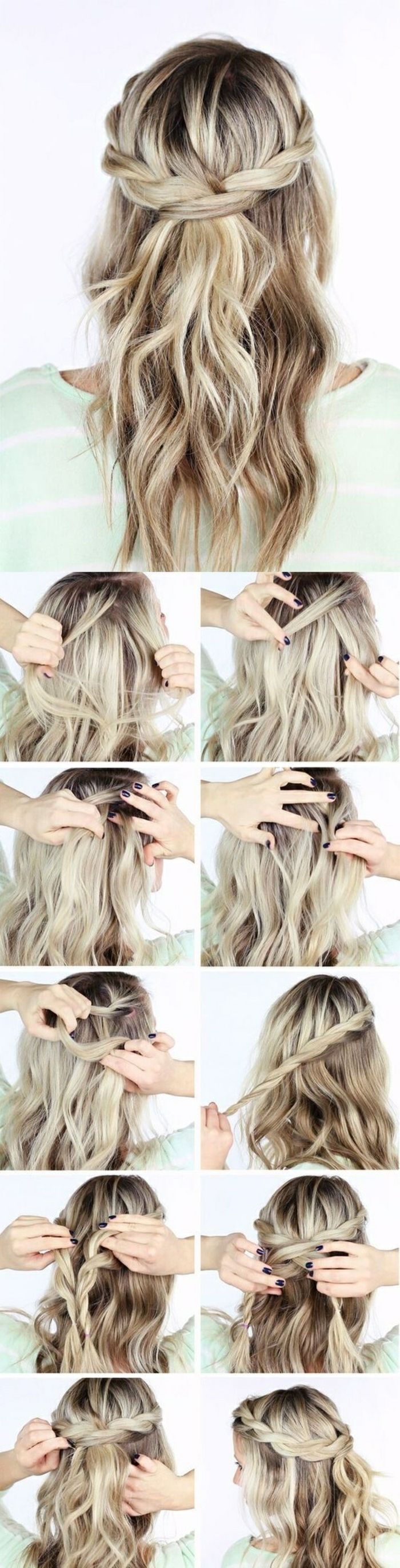 Einfache Frisuren Mittellange Blonde Lockige Haare Tolle Flechtfrisur Beauty Sac Kendin Yap Sac Modelleri Kolay Sac Modelleri