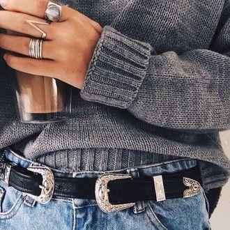 belt black double buckle belt waist belt assessory jewels jewelry ring silver ring