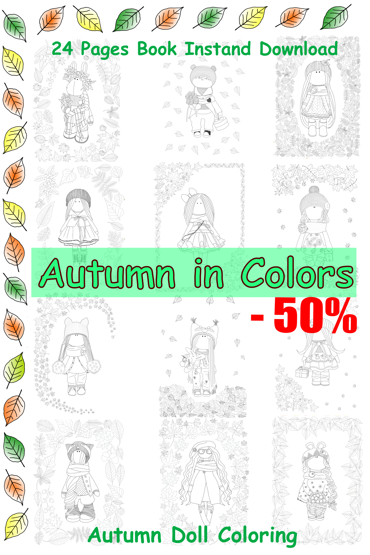 Cyber Week Sales Doll Coloring Autumn Dolls Coloring Book Fall ...