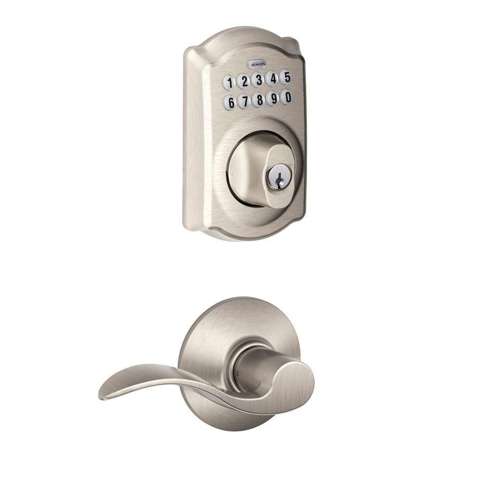 Schlage Camelot Satin Nickel Electronic Door Lock Deadbolt With Accent Door Lever In 2020 Schlage Deadbolt Keypad Deadbolt