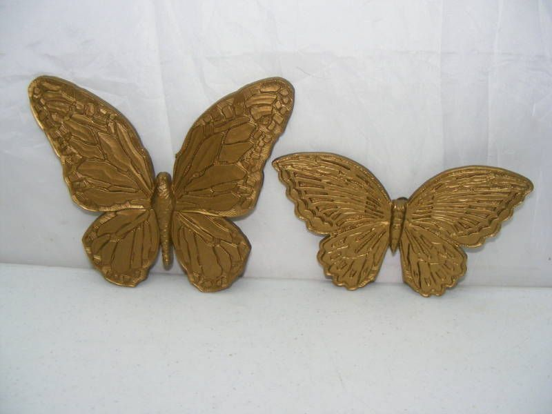 2 Homco Home Interiors Gold Color Butterflies Nice Homco Gold