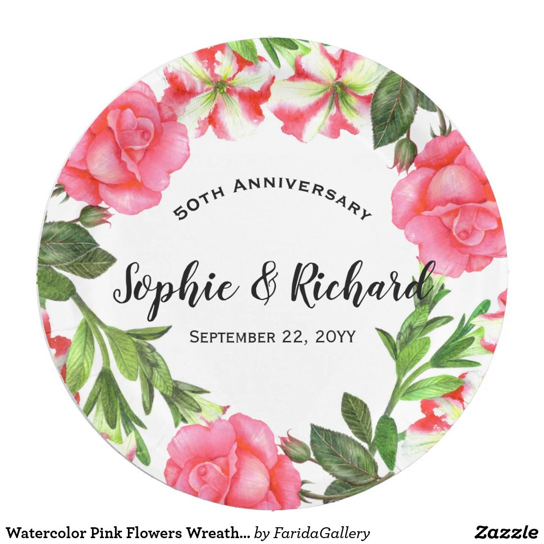 Blue Circlesvg: Watercolor Pink Flowers Wreath Circle Paper Plate