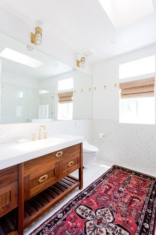 Custom Walnut Bathroom Vanity Campaign Style Brass Hardware Marble Floors Bathroom New Traditional Vintage R Bathroom Red Stylish Bathroom Luxury Bathroom