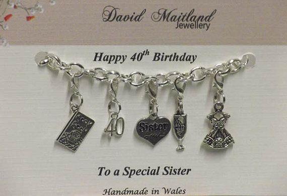 Sister 40th Birthday Lucky Charm Bracelet