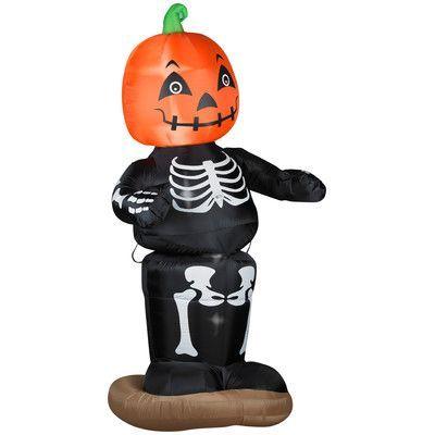 Gemmy Industries Animated Dancing Pumpkin Boy Skeleton Halloween - inflatable halloween decoration