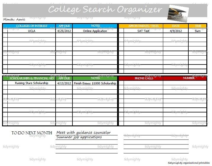 College Search Planner / Organizer Back to School by tidymighty - college organizer