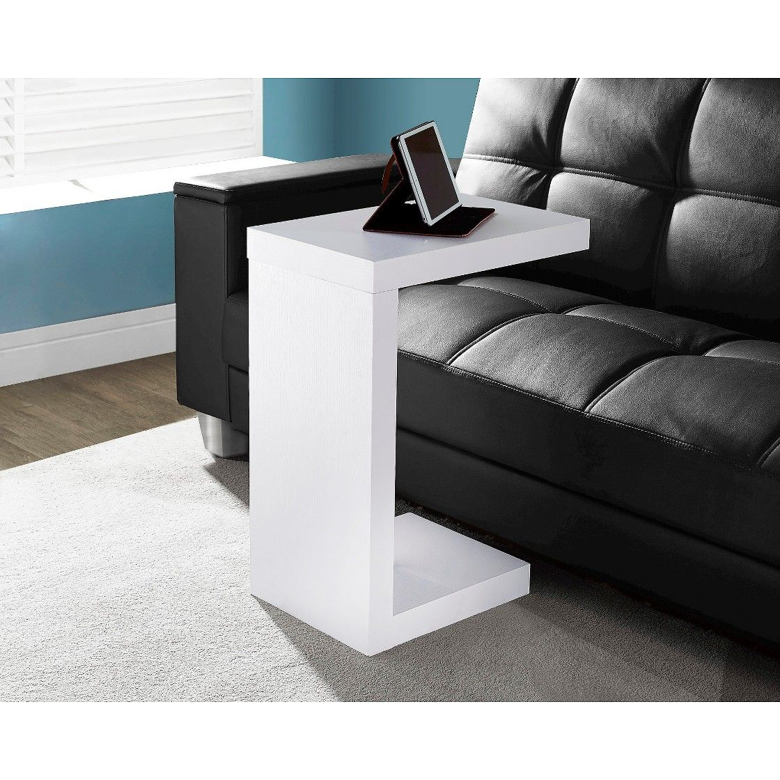 Marvelous Hollow Accent End Table White Black Everyroom Wood Gmtry Best Dining Table And Chair Ideas Images Gmtryco
