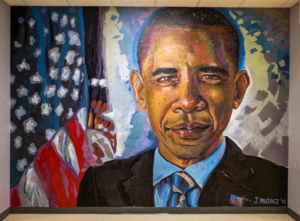 Mr President By J Muzacz Seen At Idea Rundberg Austin In 2021 Painting Mosaic Artwork Colorful Murals