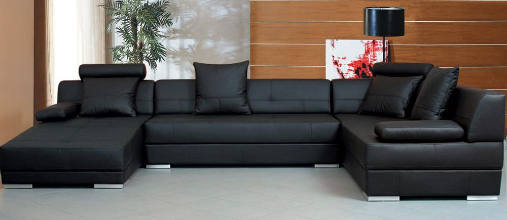 Black Sectional Sofa | sofas | Leather couch sectional ...