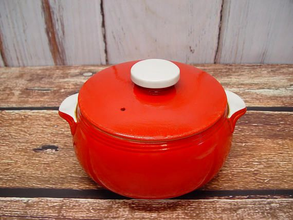 Hall Chinese Red Bean Pot With Lid Art Deco Casserole