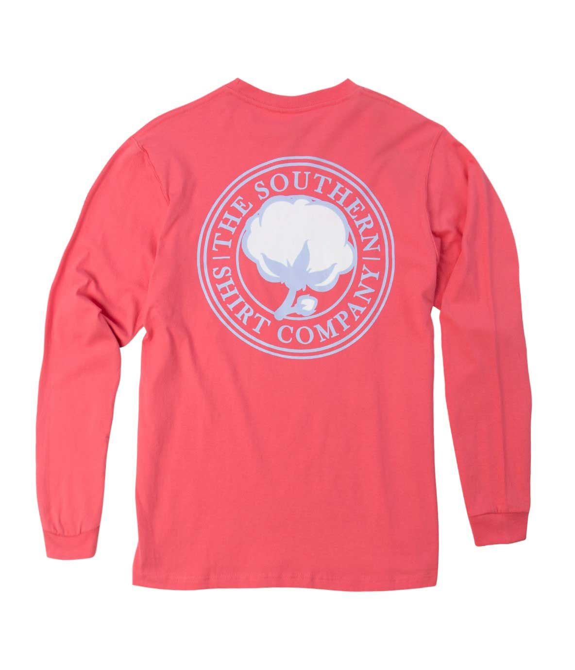 White t shirt company - Southern Shirt Company Signature Logo Long Sleeve T Shirt In Coral