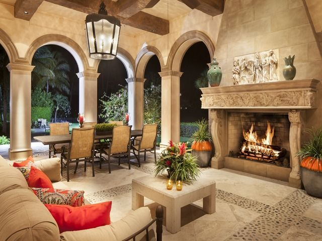 Estates At Bay Colony Lanai With Fireplace In Naples Florida