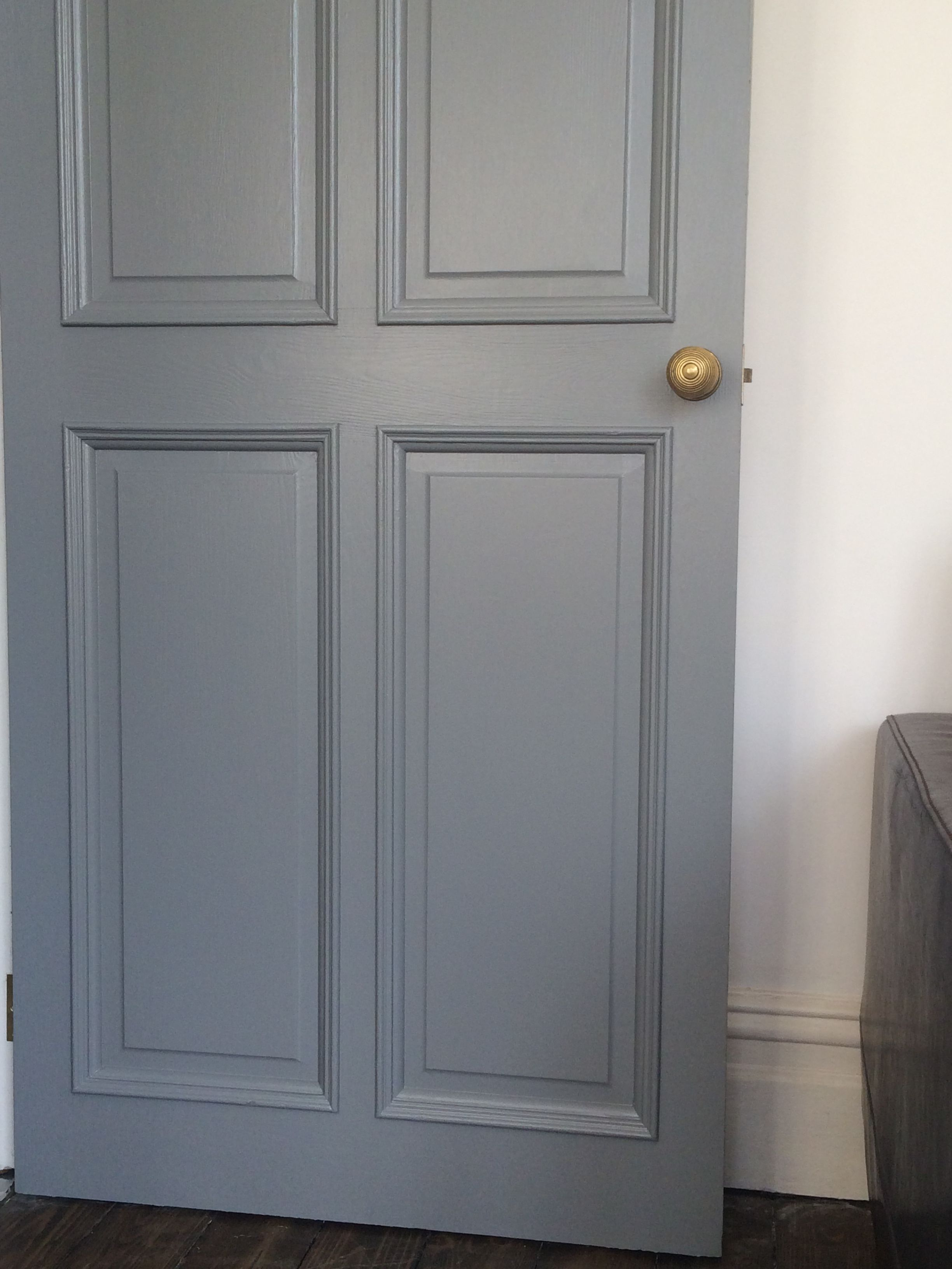 Door painted in Farrow & Ball plummett eggshell