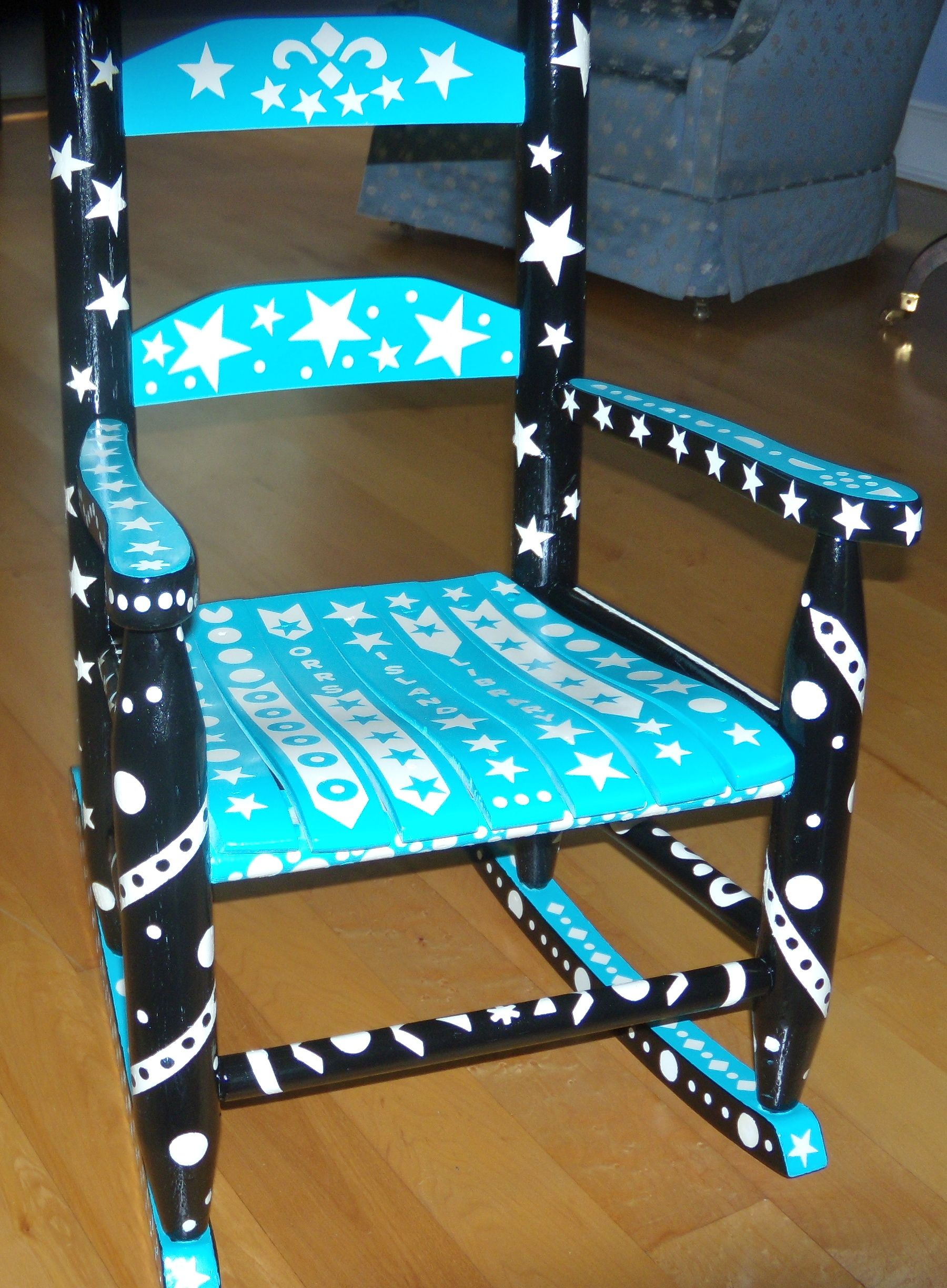 A child's rocking chair painted for Orr's Island Library