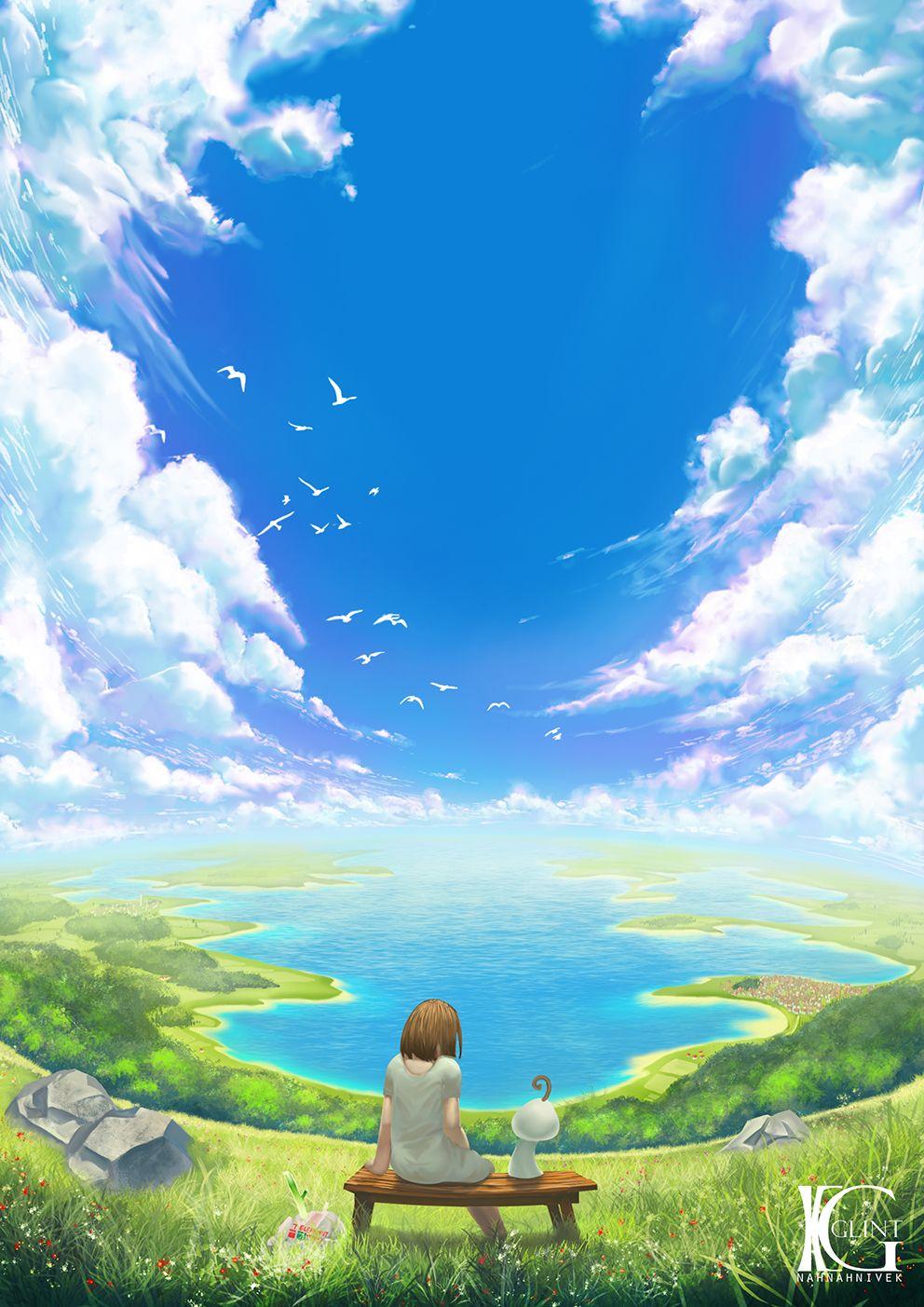 Big Blue Sky By Kevin Glint Sky Anime Anime Scenery Wallpaper Anime Background
