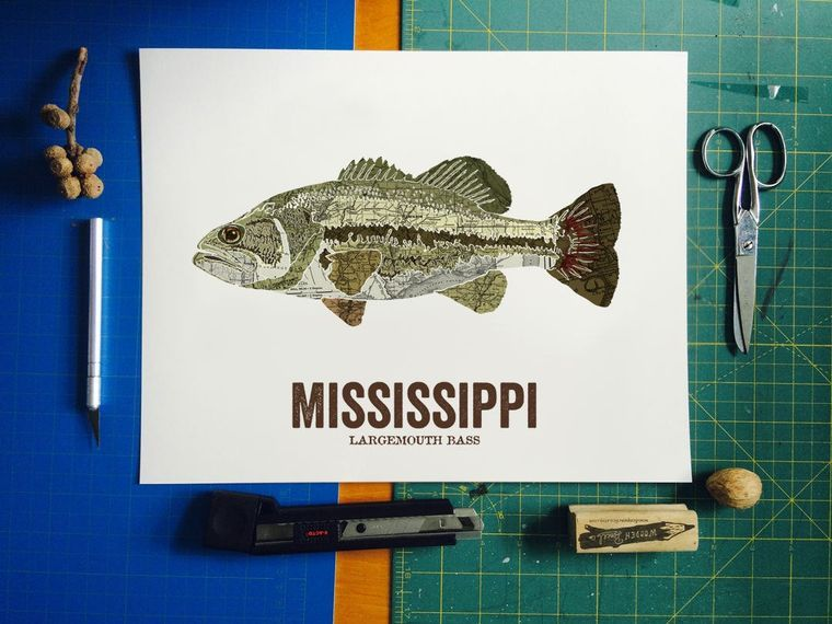 Mississippi State Fish Map art Nature Outdoor