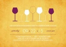 Rustic Yellow Row of Glasses Wine Party Invitation Wine Party