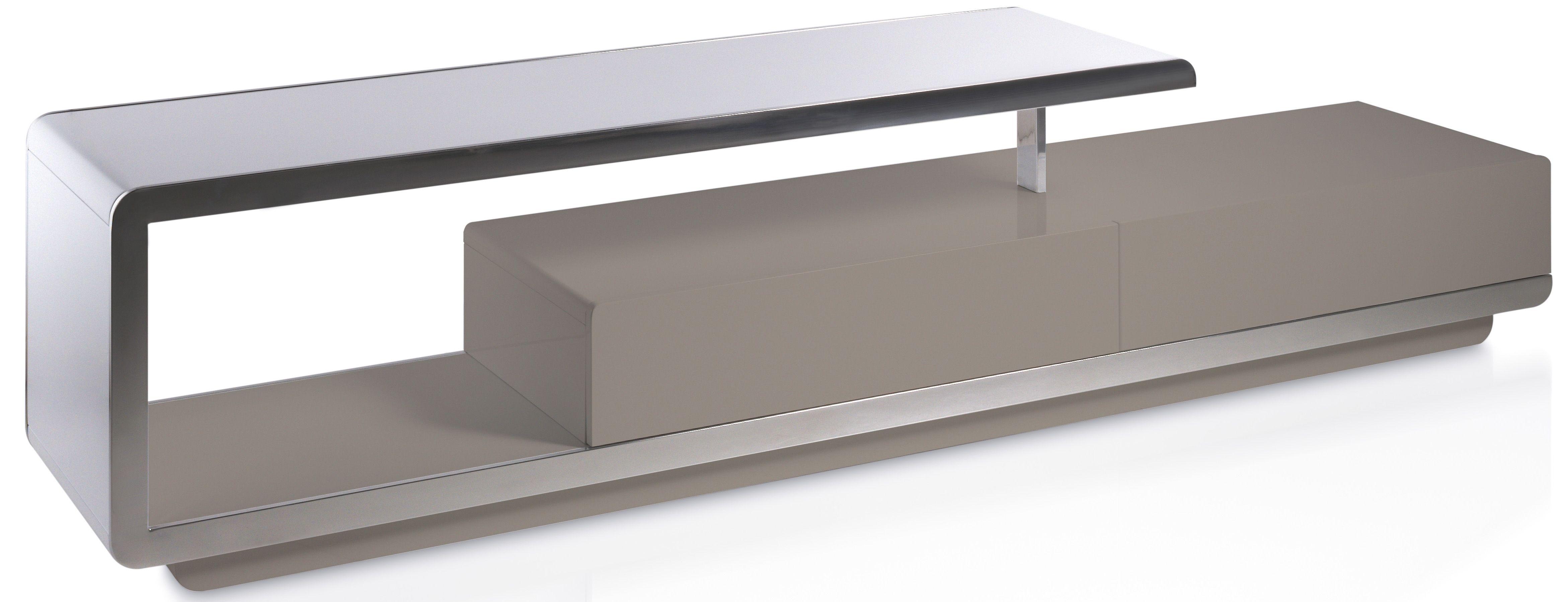 Meuble Tv Design 2 Tiroirs Bois Laque Taupe Et Acier Chrome Modena Meuble Tv Meuble Tv Design Meuble