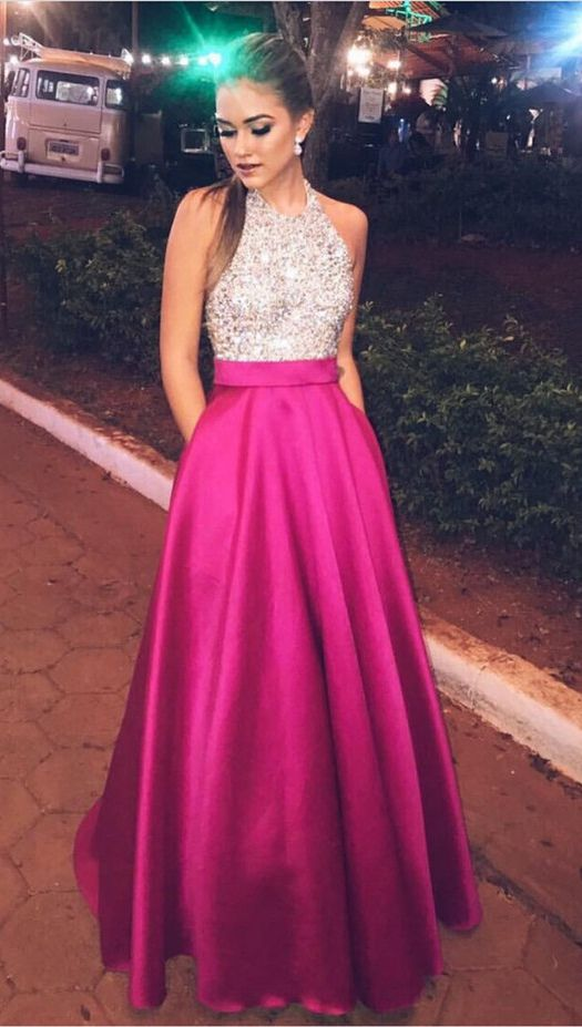 Halter Sleeveless Beaded Satin A-line Floor-Length Prom Dress ... 87c93acc0