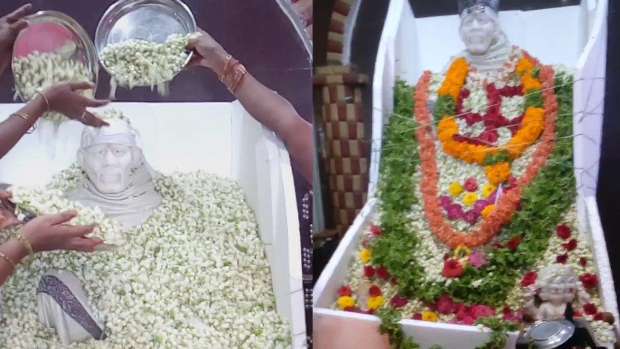 Sai Baba Abhishekam with 100 kgs of Jasmine Flowers,Sai Baba