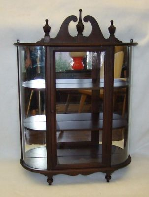 Vintage Small Wall Hanging Curio Cabinet Curved Glass Curio