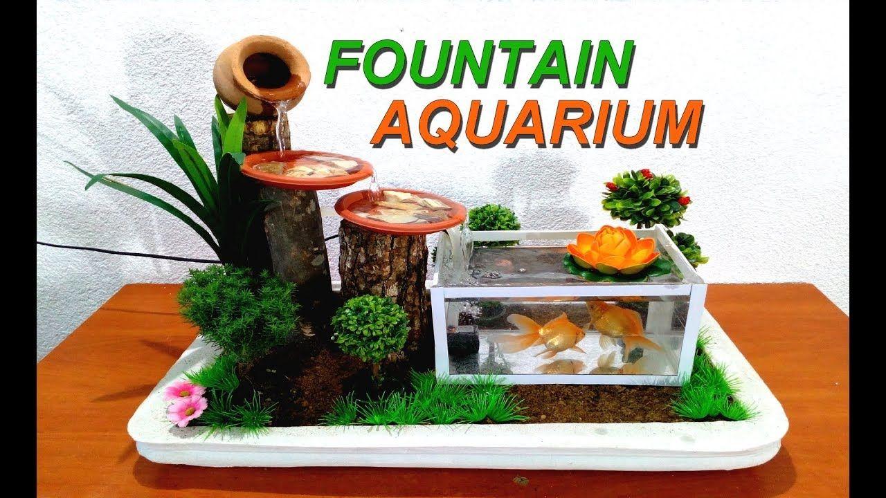 How To Make A Small Aquarium Fountain Very Easy Diy Youtube Diy Fountain Tabletop Fountain Diy Water Fountain