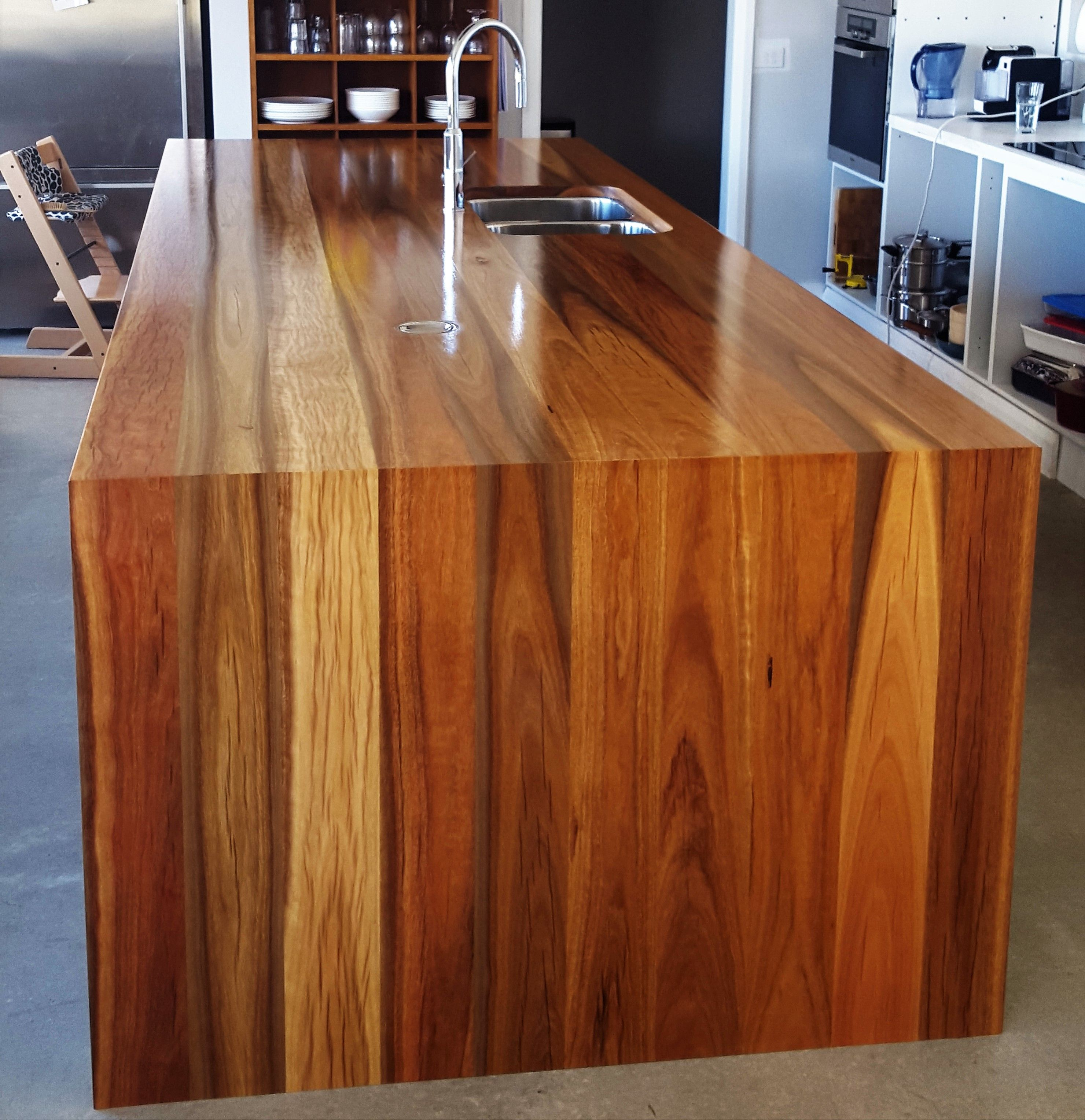 Timber Kitchen Black Benchtop: Spotted Gum Island Benchtop, Timber Benchtop, Kitchen