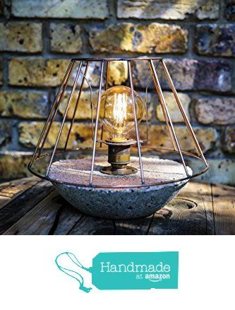 Table lamp handmade from hypertufa concrete with vintage bulb and table lamp handmade from hypertufa concrete with vintage bulb and copper wire cage shade from mooboo home greentooth Choice Image