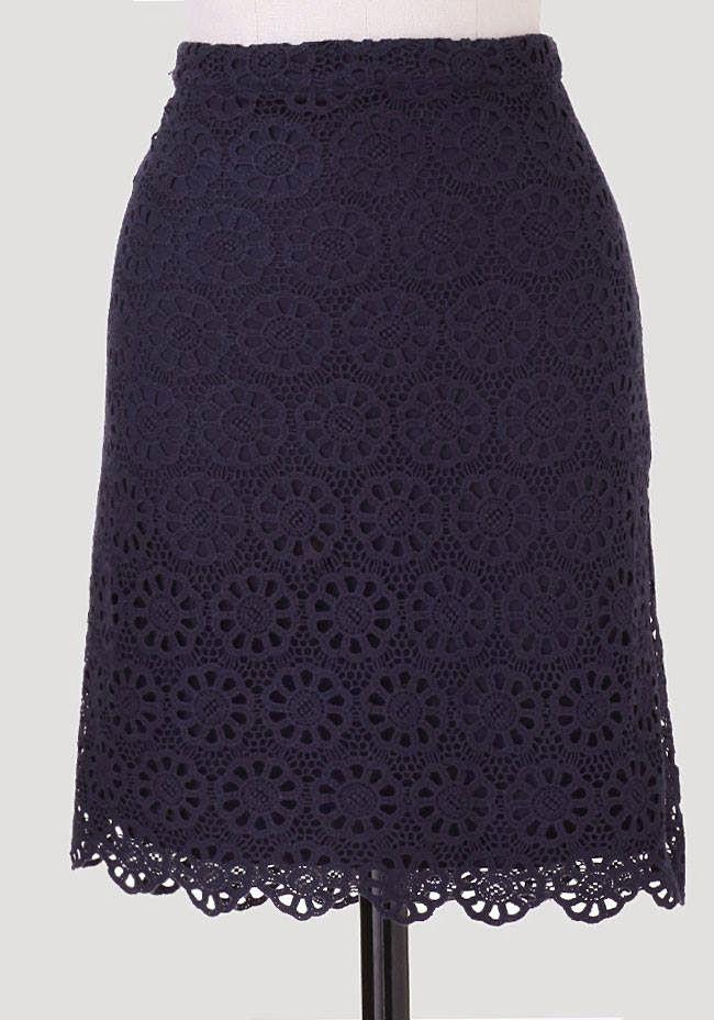 at ruche //  navy crochet lace skirt